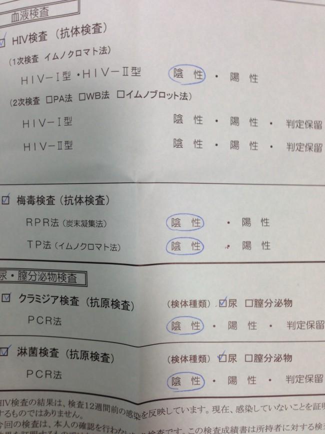 HIV性病検査結果無料保健所